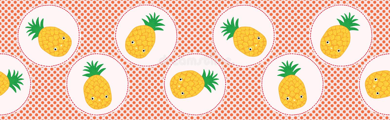 Ilustração bonito do vetor do às bolinhas do abacaxi Teste padrão de repetição sem emenda ilustração royalty free