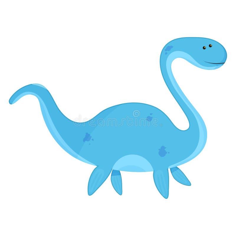 Ilustração bonito do vetor do bebê do elasmosaurus de Dino ilustração stock