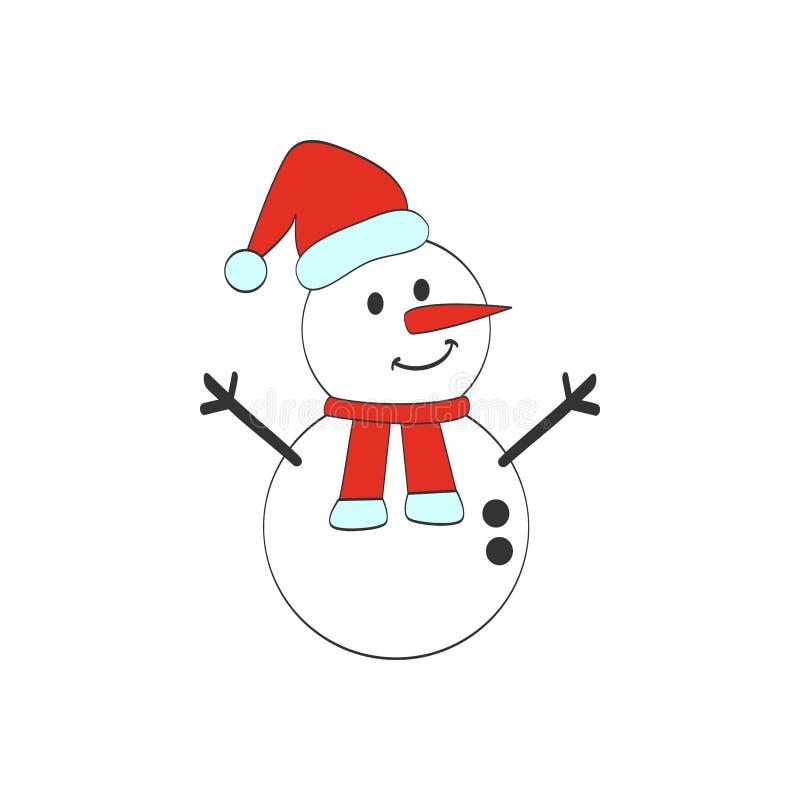 A ilustra??o bonito do vetor do boneco de neve dos desenhos animados isolou o fundo, o Feliz Natal e o ano novo feliz ilustração stock