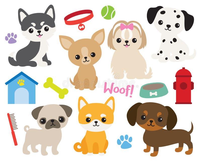Ilustração bonito do vetor do cão de cachorrinho ilustração stock