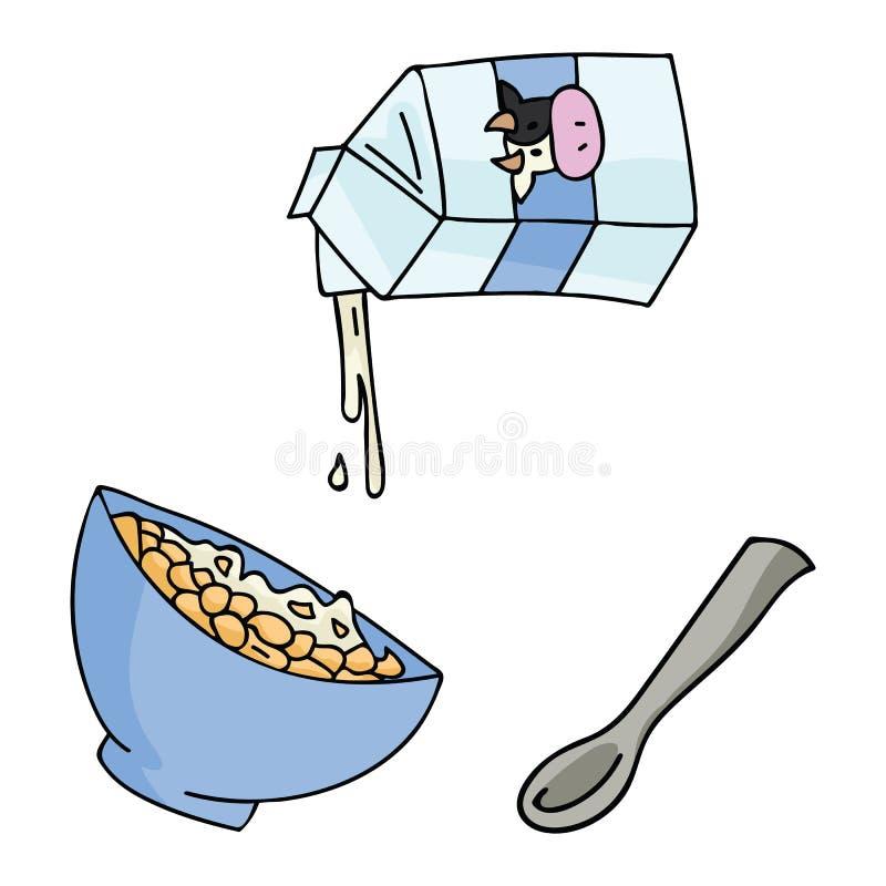 Ilustração bonito do vetor do cereal de café da manhã da bacia saudável da farinha de aveia ilustração do vetor