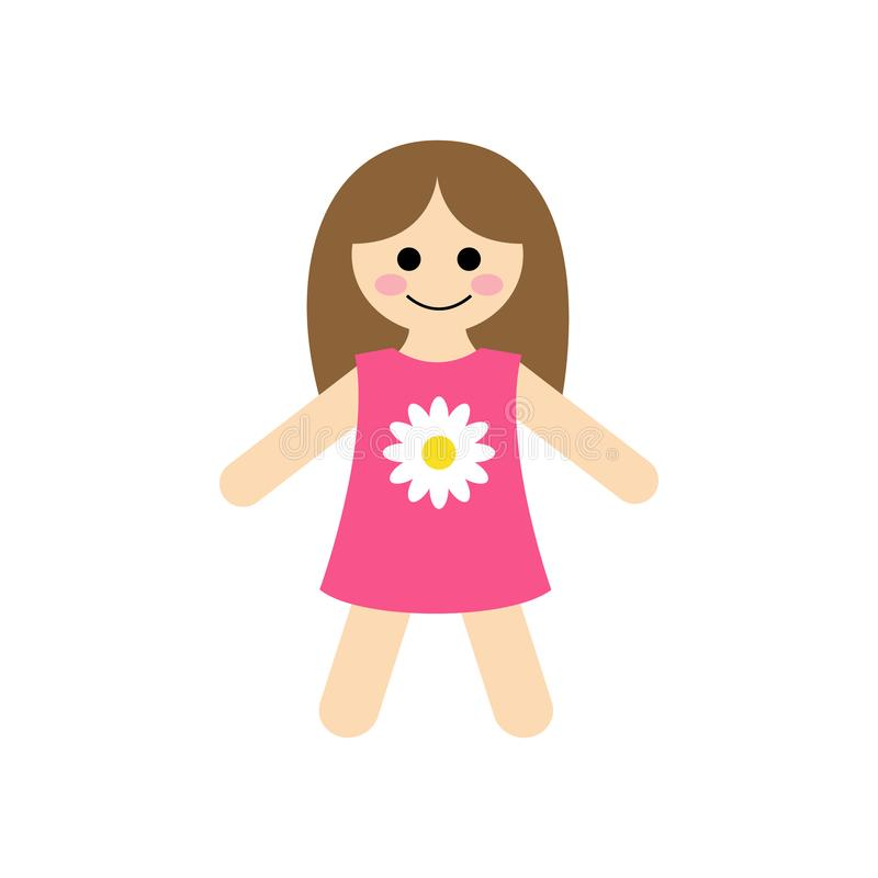 Ilustração bonito do vetor da boneca de pano do bebê ilustração do vetor