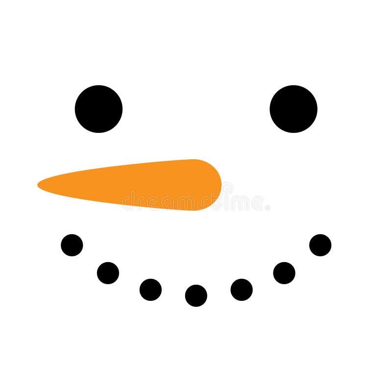 Ilustração bonito do vetor da cara do quadrado do boneco de neve ilustração stock