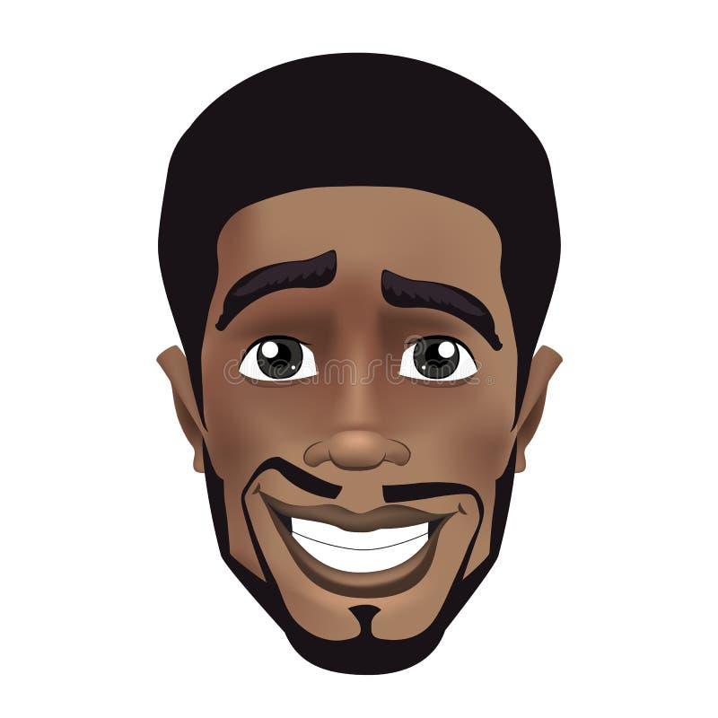 Ilustração bonito do vetor da cor do avatar afro da cara do indivíduo preto da barba Sorriso novo positivo do indivíduo preto ilustração do vetor