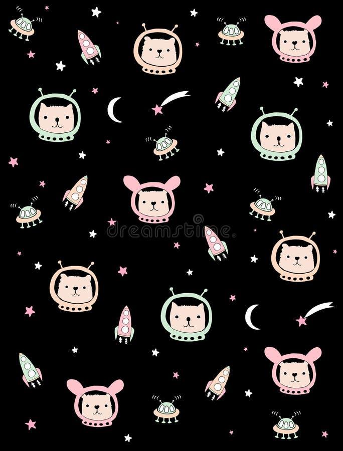 Ilustração bonito do vetor de espaço com os astronautas bonitos do coelho, do gato e do urso C?u noturno preto ilustração do vetor