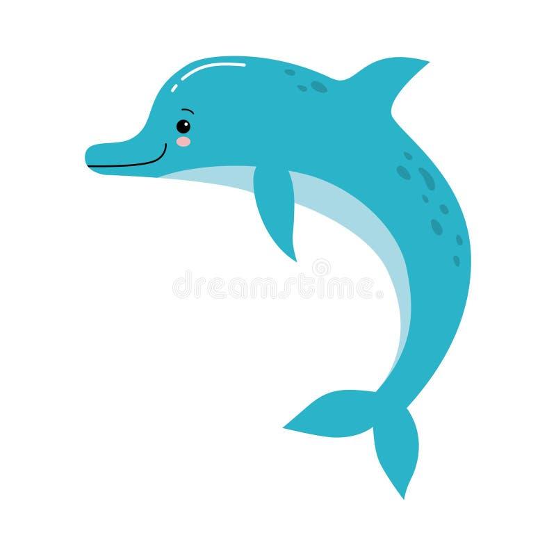 Ilustração bonito do vetor de um divertimento de salto do golfinho cor-de-rosa engraçado em um fundo branco ilustração stock