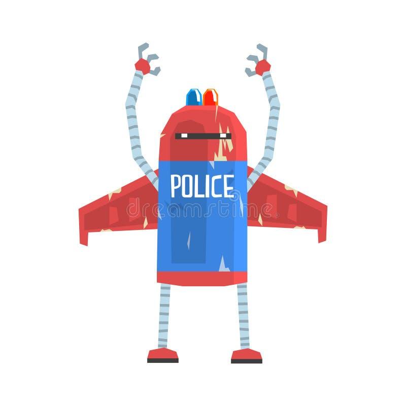 Ilustração bonito do vetor do caráter do polícia do androide dos desenhos animados ilustração stock
