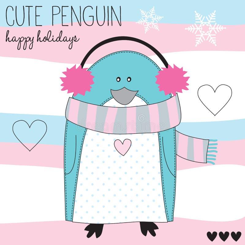 Ilustração bonito do vetor do pinguim ilustração royalty free