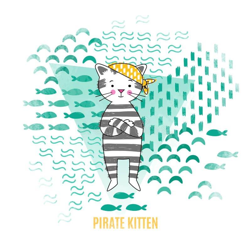 Ilustração bonito do vetor do pirata do gatinho ilustração royalty free
