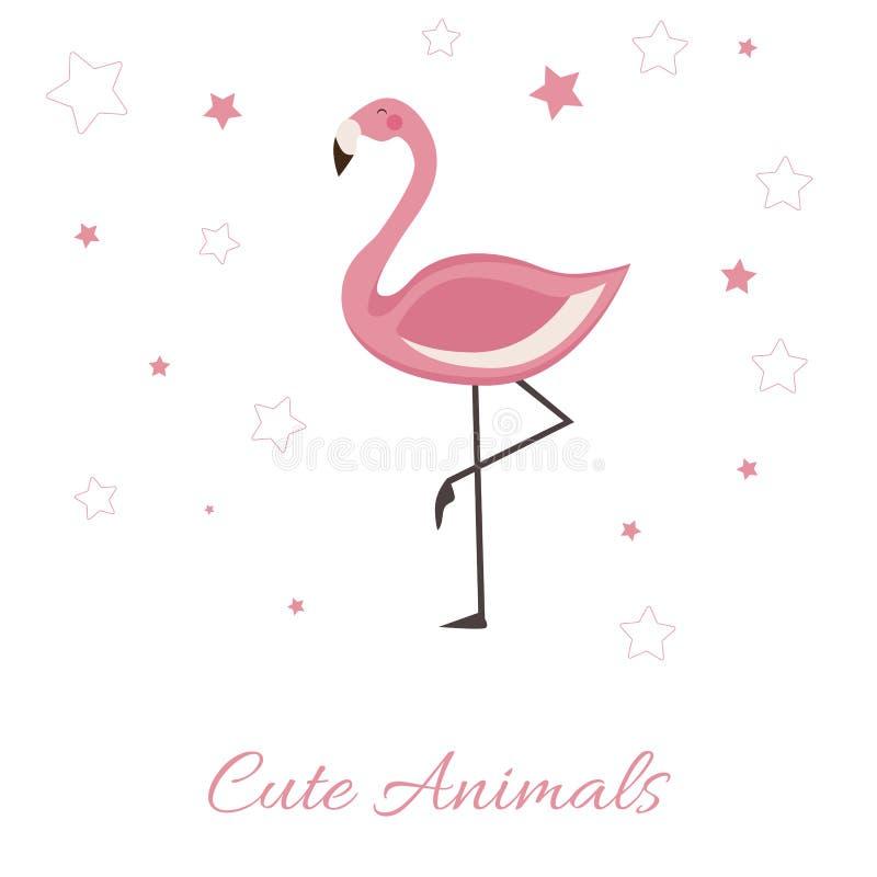 Ilustração bonito do vetor dos animais com flamingo cor-de-rosa rotulando a ilustração isolada no fundo branco ilustração do vetor