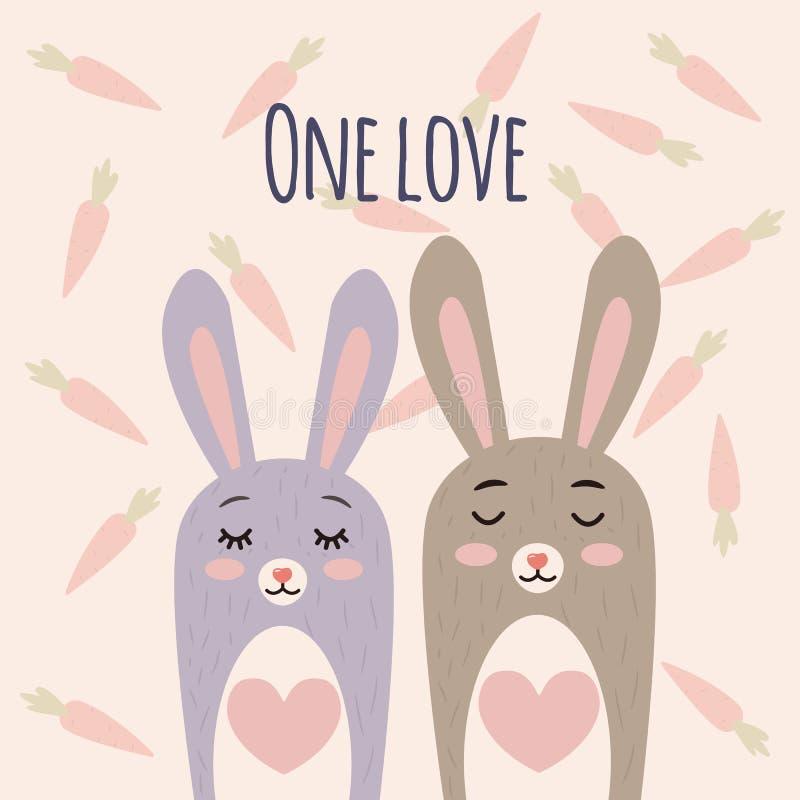 Ilustração bonito do vetor dos coelhos Caráter do coelho dos desenhos animados com coração Os coelhos acoplam-se no amor Fundo co ilustração do vetor