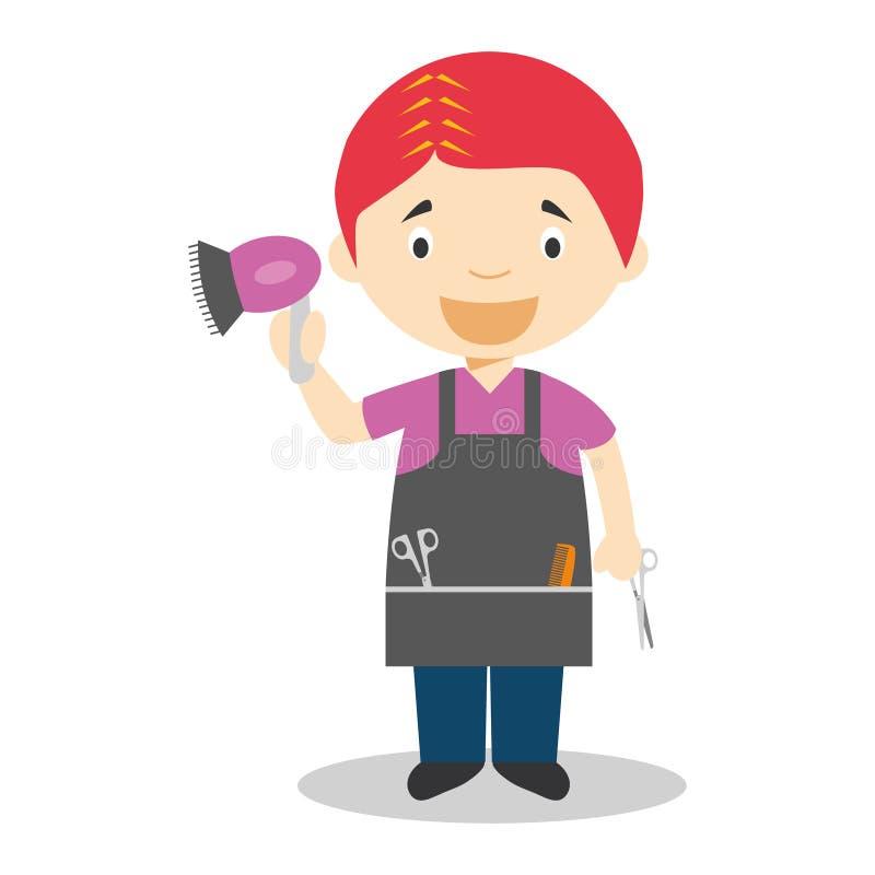 Ilustração bonito do vetor dos desenhos animados de um cabeleireiro ilustração do vetor