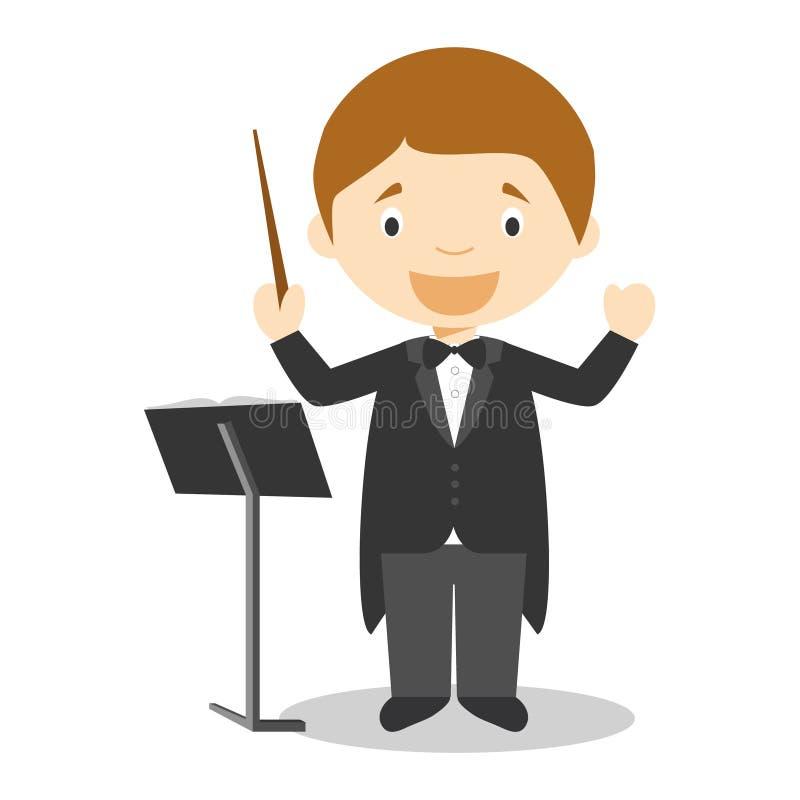 Ilustração bonito do vetor dos desenhos animados de um diretor da orquestra ilustração royalty free