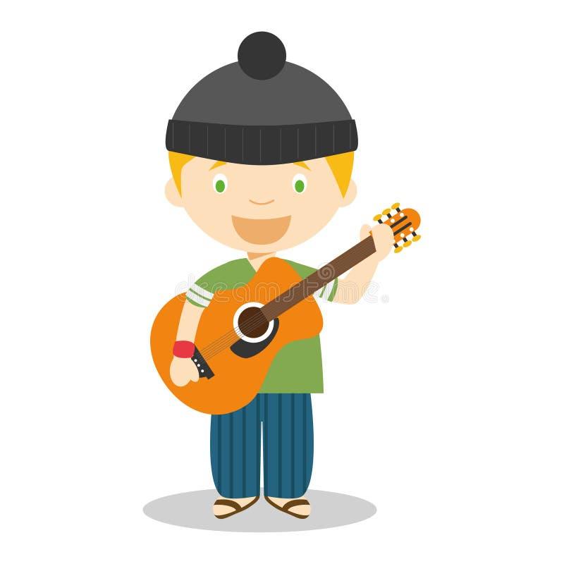 Ilustração bonito do vetor dos desenhos animados de um músico com uma guitarra ilustração royalty free
