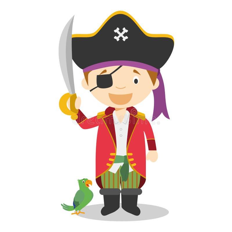 Ilustração bonito do vetor dos desenhos animados de um pirata ilustração royalty free