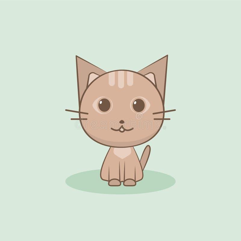 Ilustração bonito do vetor do gato Projeto liso fotos de stock