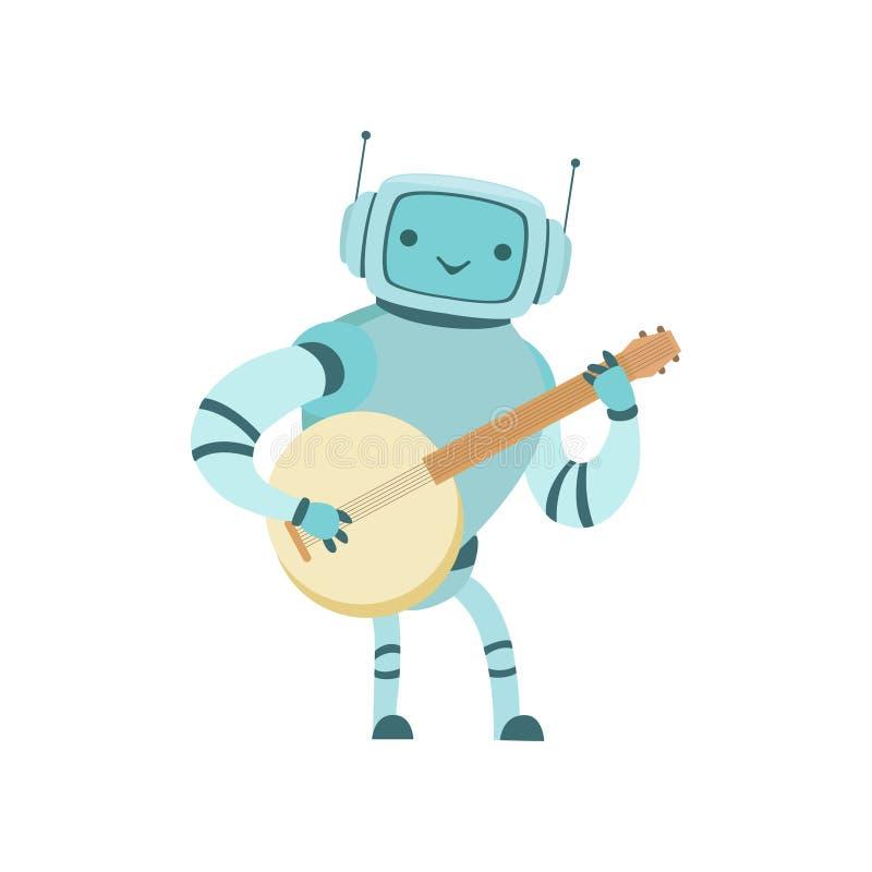 Ilustração bonito do vetor do instrumento de Playing Banjo Musical do músico do robô ilustração do vetor