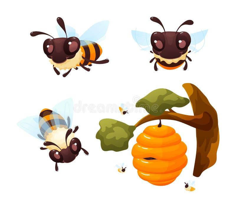A ilustração bonito do vetor do jogo de caracteres das abelhas dos desenhos animados isolou-se ilustração do vetor