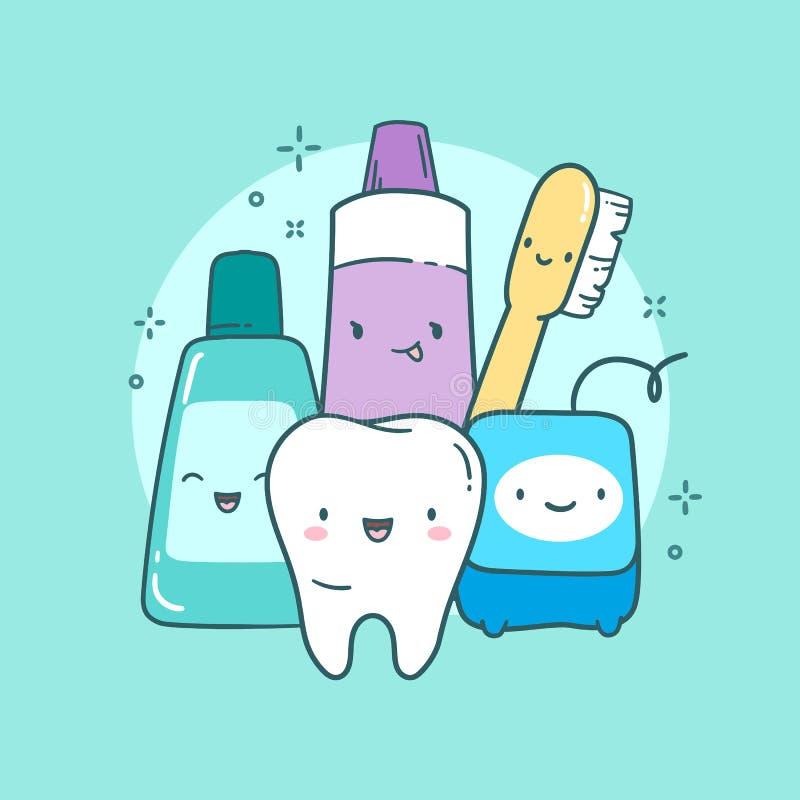 Ilustração bonito dos cuidados dentários Dente, escova de dentes, dentífrico, lavagem de boca, floss foto de stock royalty free