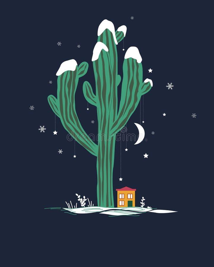 Ilustração bonito dos desenhos animados com o cacto do saguaro e a casa altos do liitle Paisagem feericamente mexicana do inverno ilustração stock