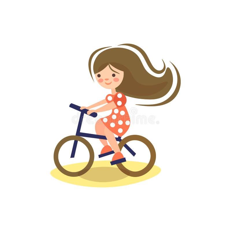 Ilustração bonito dos desenhos animados de pouco pre para teeen a menina, montando uma bicicleta Bicicleta da equita??o da crian? ilustração royalty free