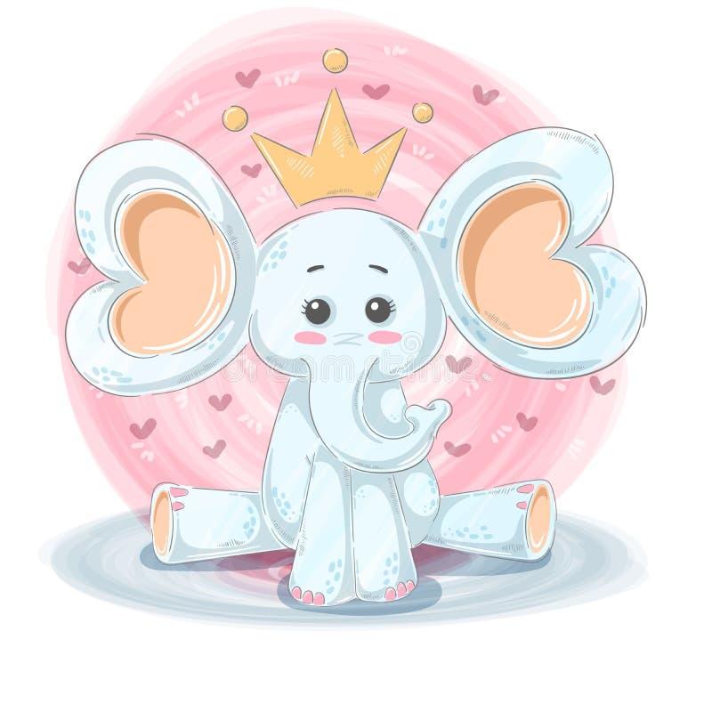 Ilustração bonito, engraçada - caráteres do elefante dos desenhos animados ilustração stock
