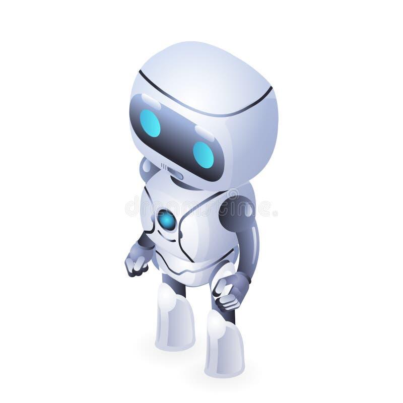 Ilustração bonito isométrica futura do vetor do projeto da ficção científica da tecnologia da inovação do robô ilustração royalty free
