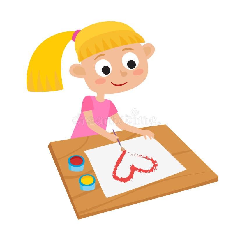 Ilustração bonito pequena de Vetora do artista de louro pequeno adorável ilustração stock