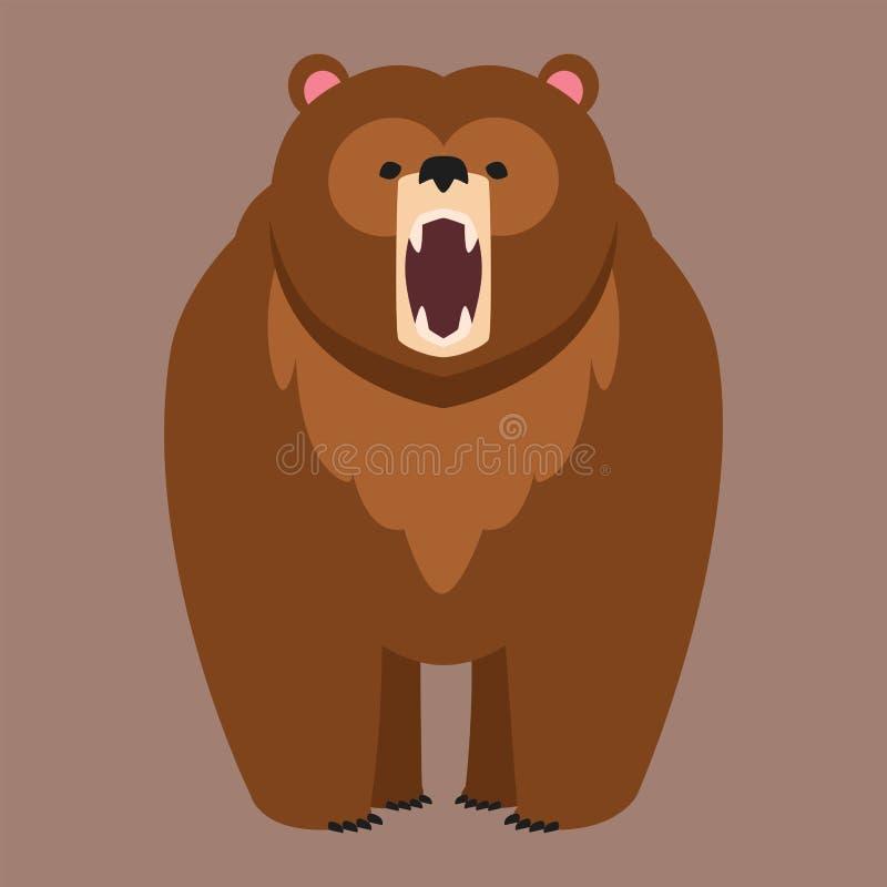 Ilustração bonito predadora do caráter dos desenhos animados animais felizes engraçados do vetor do urso de Brown ilustração stock