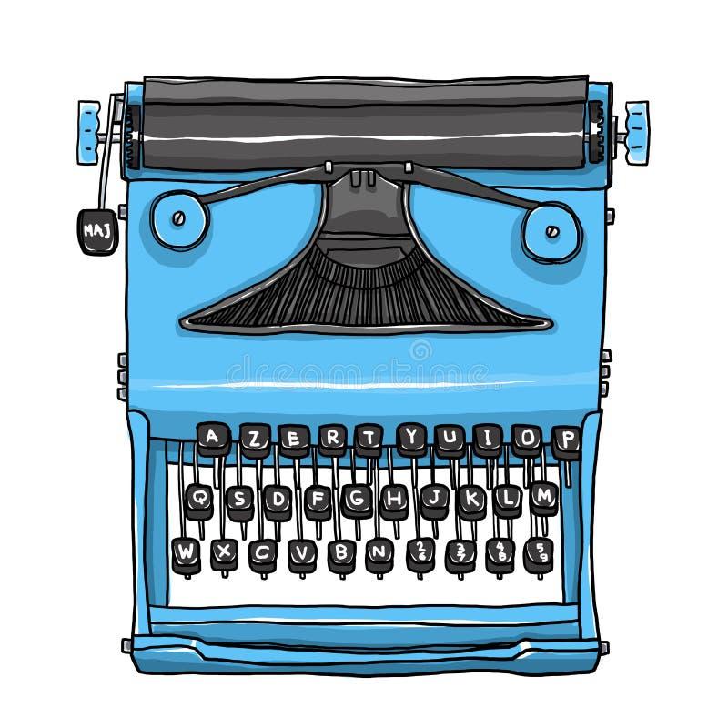 Ilustração bonito tirada da arte da máquina de escrever mão velha azul ilustração royalty free