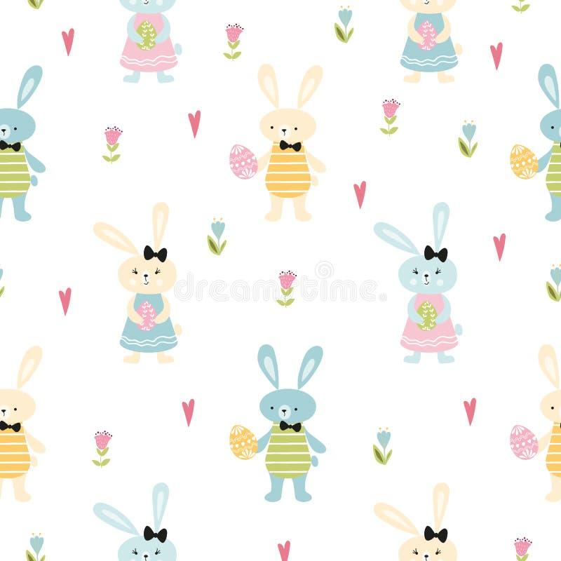 A ilustração bonito tirada do vetor da Páscoa do teste padrão mão feliz sem emenda com os ovos dos coelhos de coelho salta flores ilustração do vetor