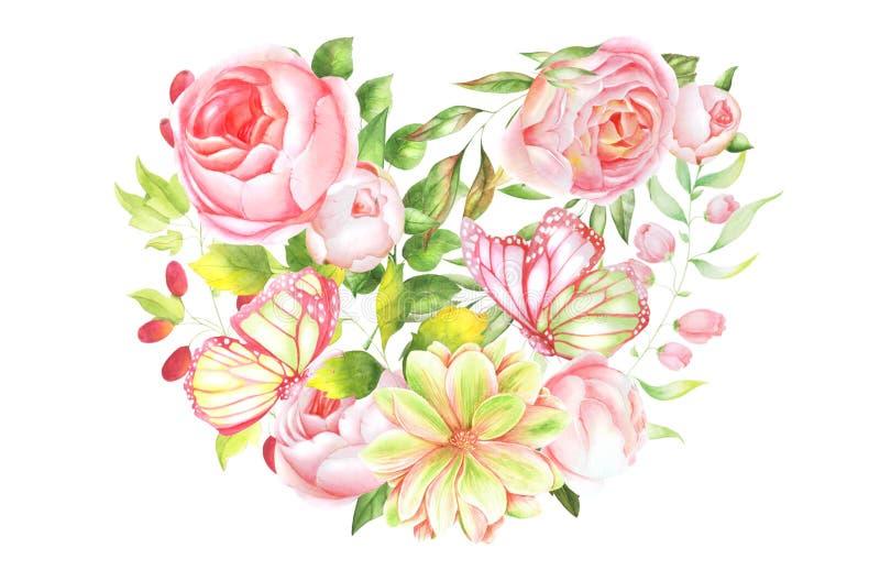 Ilustração botânica, coração das rosas ilustração royalty free
