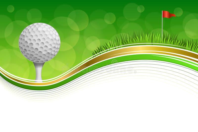 Ilustração branca abstrata do ouro do quadro da bola da bandeira vermelha de grama verde do esporte do golfe do fundo imagens de stock royalty free