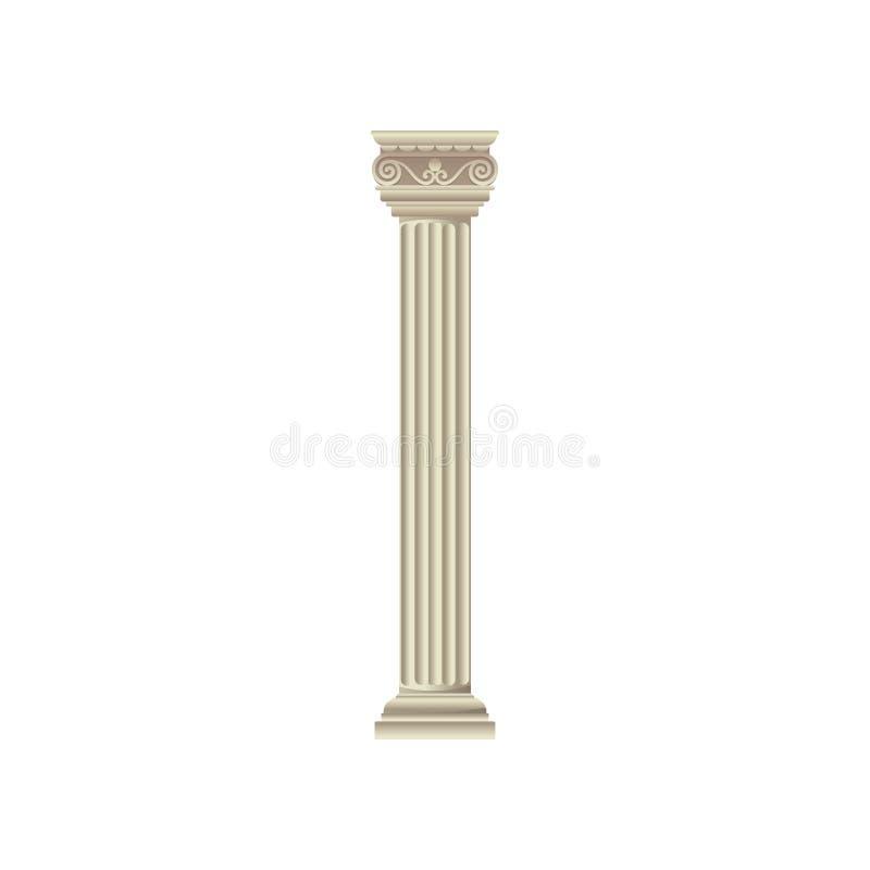 Ilustração branca antiga de mármore clássica do vetor da coluna em um fundo branco ilustração stock