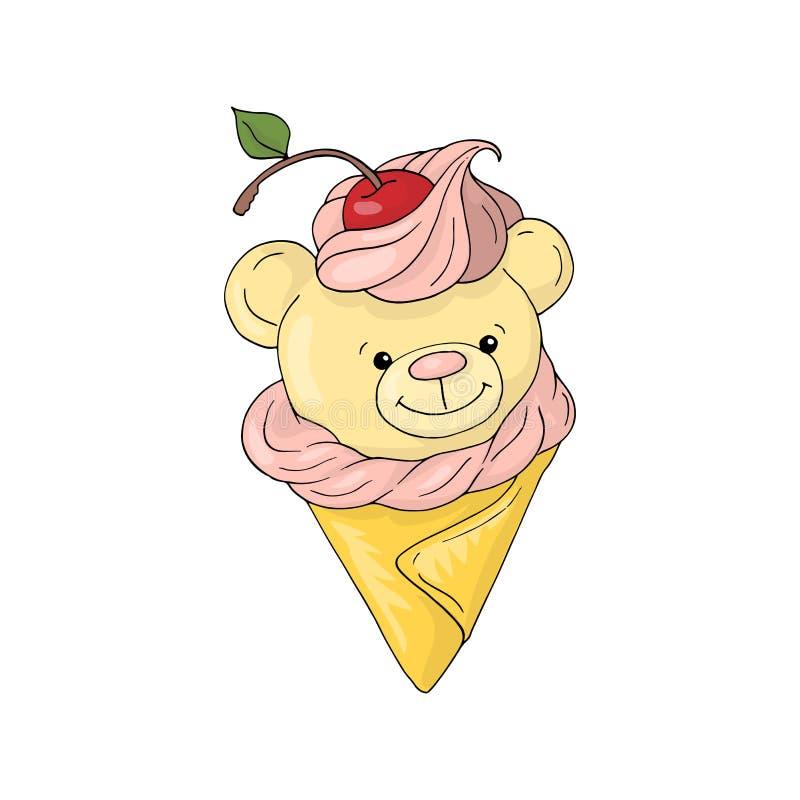 Ilustração branca bonito do fundo do menino e da menina dos desenhos animados do cone de gelado de urso de peluche ilustração stock