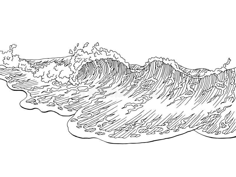 Ilustração branca do esboço da paisagem do preto da ressaca da arte gráfica da onda do mar ilustração stock