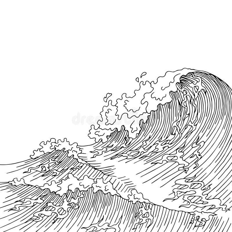 Ilustração branca do esboço da paisagem do preto da ressaca da arte gráfica da onda do mar ilustração do vetor
