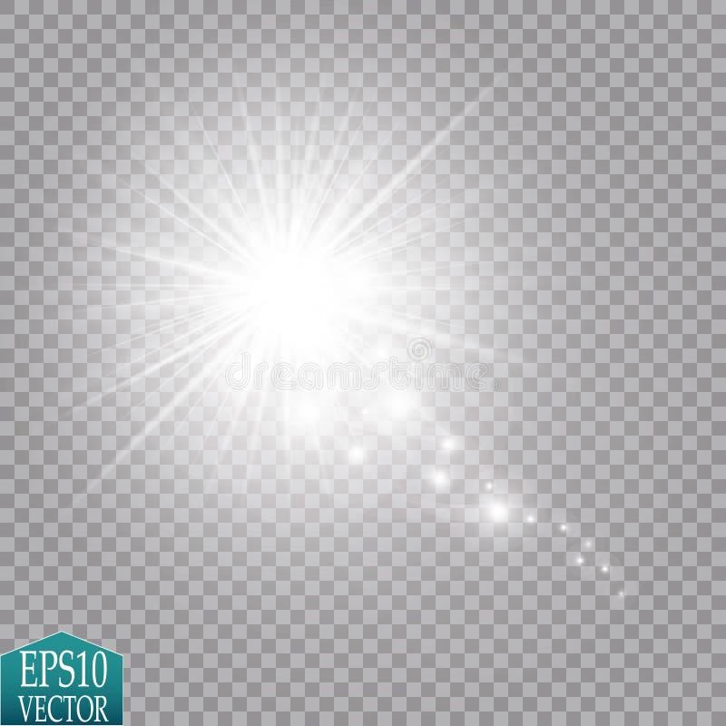 Ilustração branca do sumário da onda do brilho do vetor Partículas efervescentes da fuga branca da poeira de estrela isoladas no  ilustração royalty free