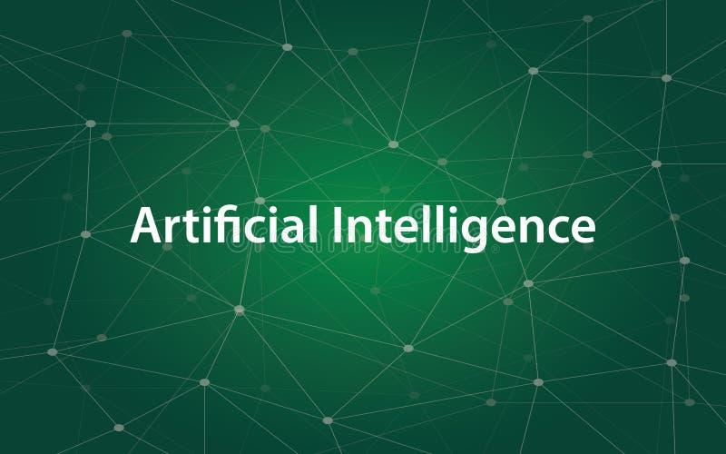Ilustração branca do tetx da inteligência artificial com o mapa verde da constelação como o fundo ilustração royalty free
