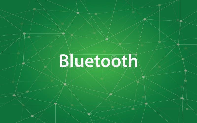 Ilustração branca do texto de Bluetooth com mapa da constelação e fundo verde ilustração stock