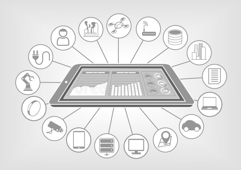 A ilustração branca e cinzenta do Lat do projeto com telefone esperto e dados grandes nubla-se o painel da analítica ilustração do vetor
