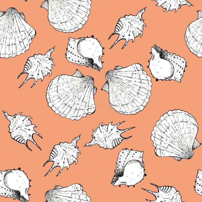 Ilustração branca e preta do esboço das conchas do mar no fundo 2019-2020 na moda de Panton da cor do rosa do pêssego Teste padr? ilustração stock