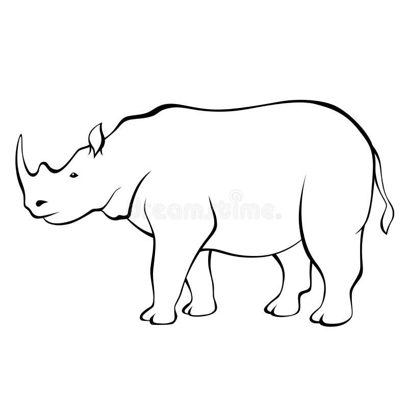 Ilustração branca preta animal do rinoceronte ilustração do vetor