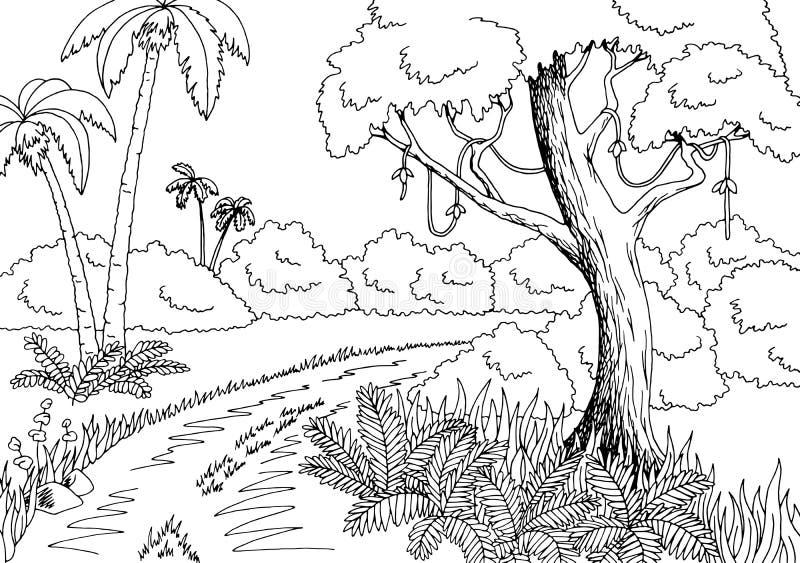 Ilustração branca preta gráfica do esboço da paisagem da estrada da selva ilustração royalty free