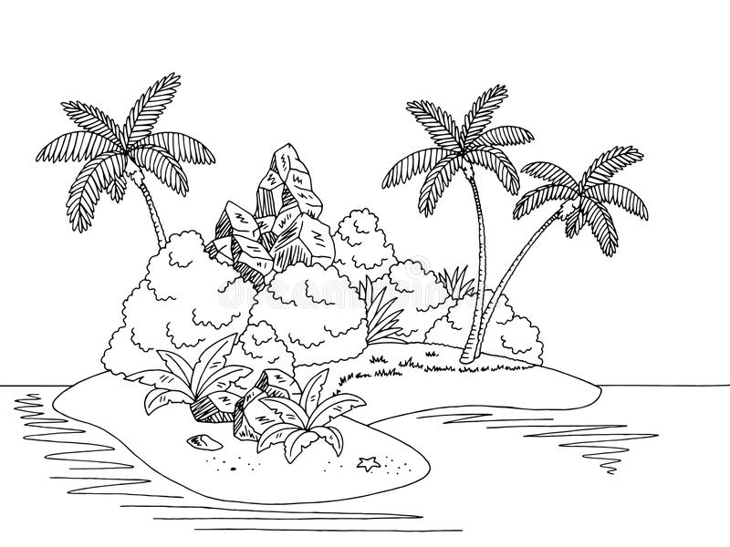Ilustração branca preta gráfica do esboço da paisagem da ilha ilustração stock