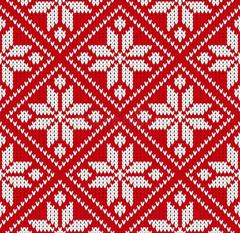 Ilustração branca vermelha do vetor do teste padrão de Noruega da camiseta sem emenda do inverno ilustração do vetor