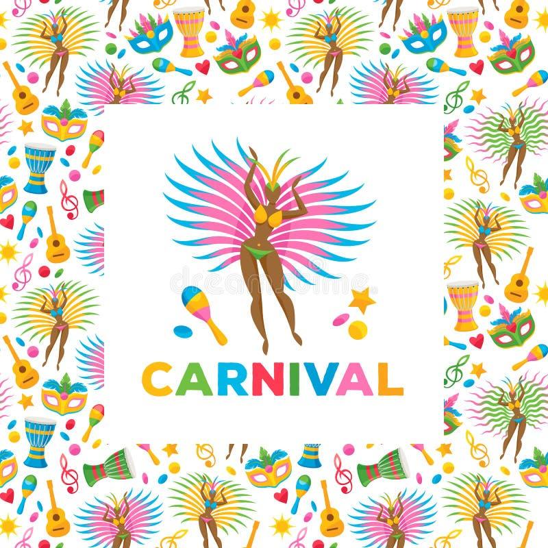 Ilustração brasileira do vetor do fundo do carnaval ilustração royalty free