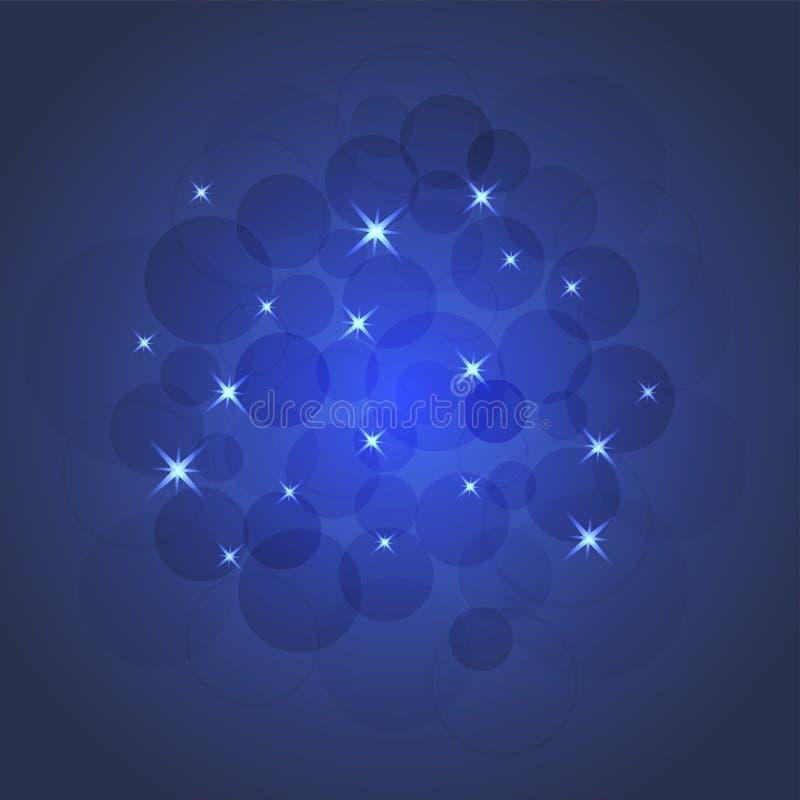 Ilustração brilhante das estrelas e dos sparkles, cartão ilustração stock