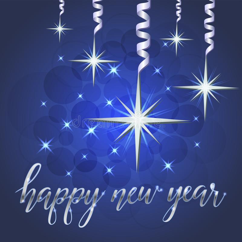 Ilustração brilhante das estrelas e dos sparkles, cartão ilustração royalty free