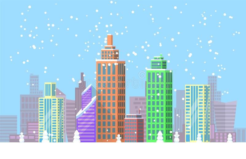 Ilustração brilhante do vetor do cartaz da arquitetura da cidade nevado ilustração do vetor